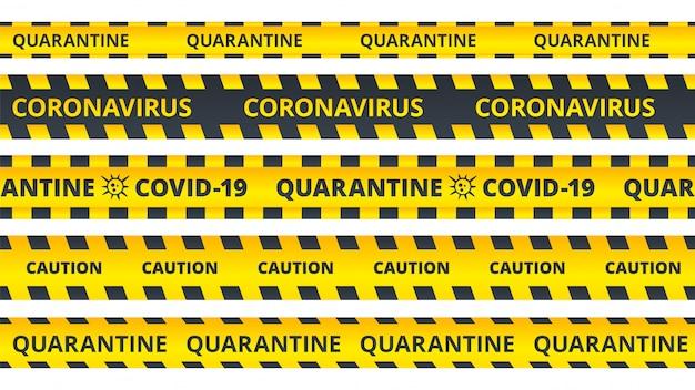 Gele waarschuwingsstrepen. coronavirus of covid19 aandachtslinten in quarantaine geplaatst