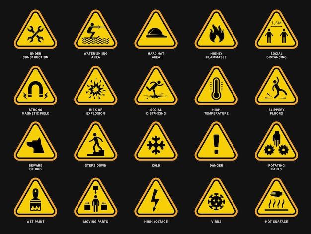 Gele waarschuwingssymbolen. driehoek borden met gevaar symbolen aandacht camera elektrische gevaar vector sjablonen. veiligheidsrisico, geel pictogramgevaar en voorzichtigheidsillustratie