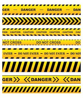 Gele waarschuwingstapes ingesteld