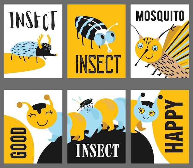 Gele wenskaartontwerpen met kinderachtige insecten.