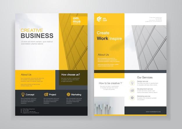 Gele zakelijke tweevoudige brochure of flyer