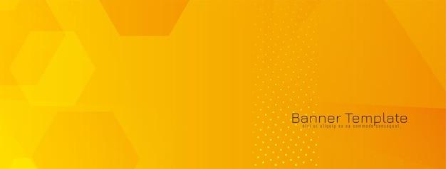 Gele zeshoekige vormen geometrische banner