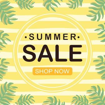 Gele zomeruitverkoop minimalistische bannercollectie met tropische plant
