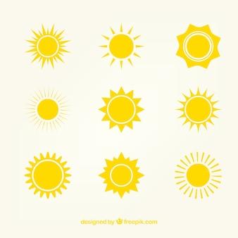 Gele zon icons
