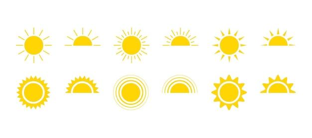 Gele zon pictogrammenset zonneschijn en zonnegloed zonsopgang of zonsondergang