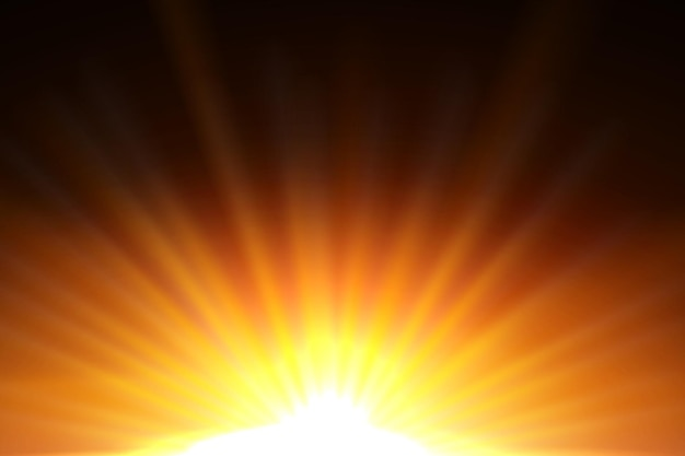 Gele zonnestralen met warme oranje gloed