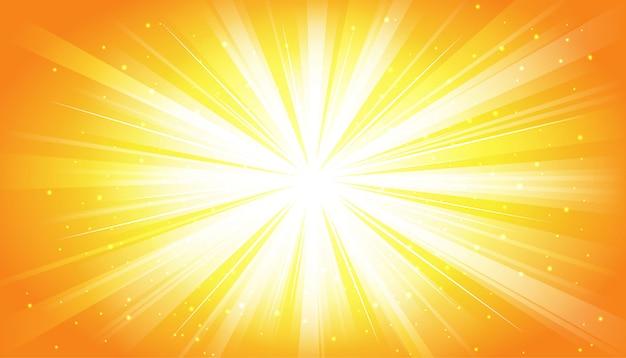 Gele zonnige stralenachtergrond