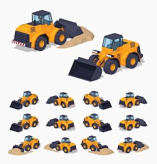 Gele zware 3d lowpoly isometrische bulldozer