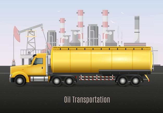Gele zware vrachtwagen met tank