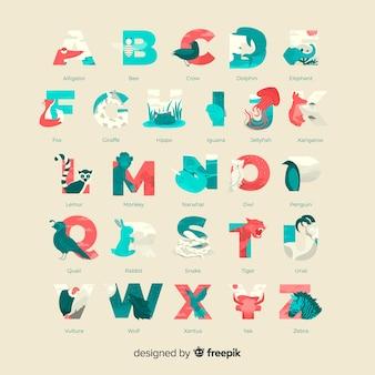 Geleerde dieren tekens alfabet collectie