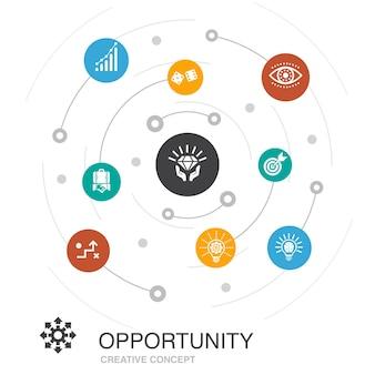 Gelegenheid gekleurde cirkel concept met eenvoudige pictogrammen. bevat elementen als kans, bedrijf, idee, innovatie
