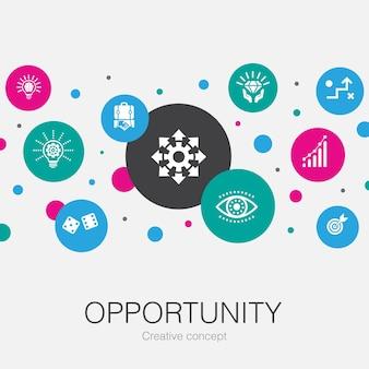 Gelegenheid trendy cirkel sjabloon met eenvoudige pictogrammen. bevat elementen als toeval, bedrijf, idee, innovatie