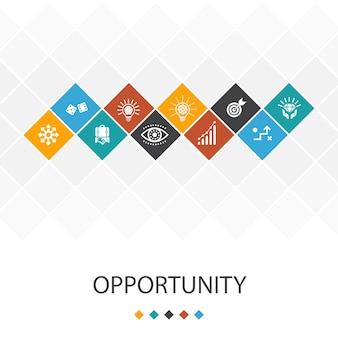 Gelegenheid trendy ui sjabloon infographics concept. kans, bedrijf, idee, innovatie pictogrammen