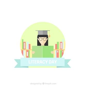 Geletterdheid dag achtergrond met vrouw leest een boek in plat design