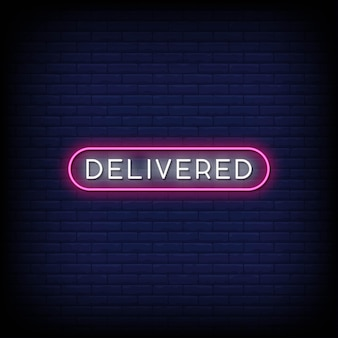 Geleverde neon signs style text vector