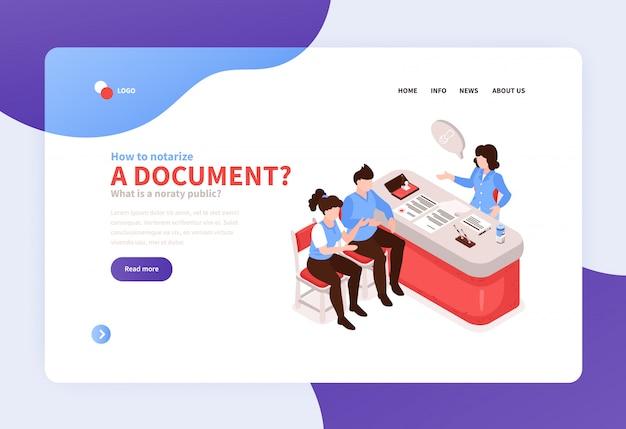 Gelicentieerde notarisdiensten online concept isometrische websitebanner met notarieel document live videogesprek