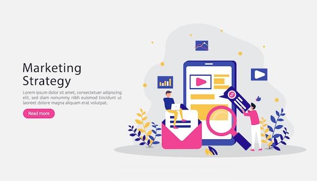 Gelieerde digitale marketing strategie concept. een vriend doorverwijzen met characte mensen