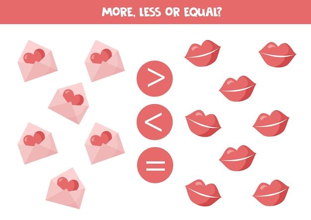 Gelijk aan schattige valentijn elementen rekenspel