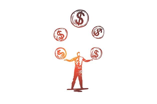 Gelijkheid, geld, financieel, inkomen, investeringsconcept. hand getekende man jangles met geld concept schets.