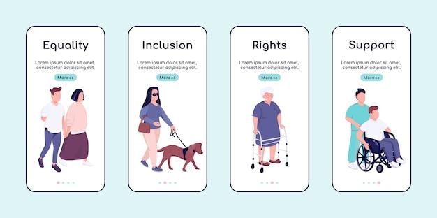 Gelijkheid van mensen met een handicap en ondersteuning van onboarding mobiele app scherm platte sjabloon. walkthrough website stappen met karakters. ux, ui, gui smartphone cartoon-interface, case prints ingesteld