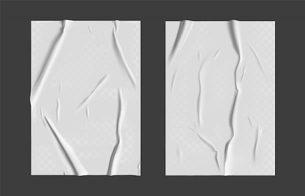 Gelijmd papier set met nat transparant gerimpeld effect op grijze achtergrond. wit nat papier poster sjabloon set met verfrommeld textuur.