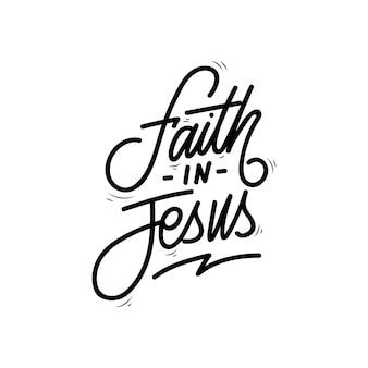 Geloof in jezus hand belettering Premium Vector
