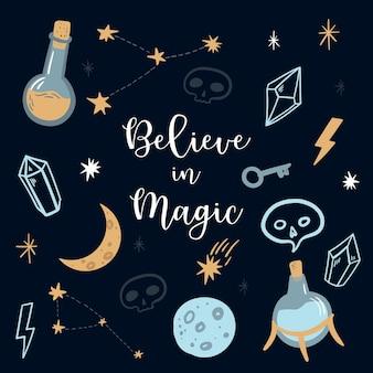 Geloof in magie hekserij en occultisme symbolen schedel maankristallen sterren testbuizen