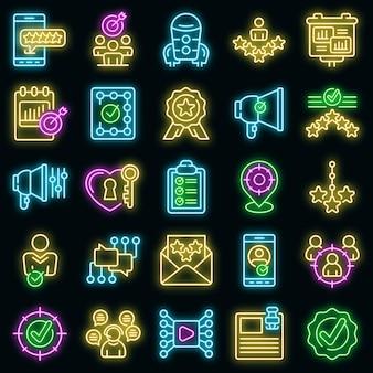 Geloofwaardigheid pictogrammen instellen. overzicht set van geloofwaardigheid vector iconen neon kleur op zwart