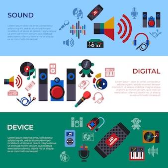 Geluid en muziek ontwerp iconen collectie