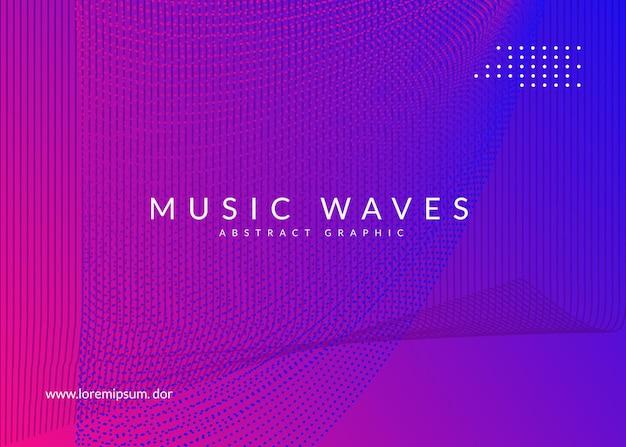 Geluid flyer. dynamische vloeiende vorm en lijn. golvend showtijdschriftontwerp. neon geluid flyer. electro-dansmuziek. elektronische fest-evenement. club dj-poster. techno trance feest.