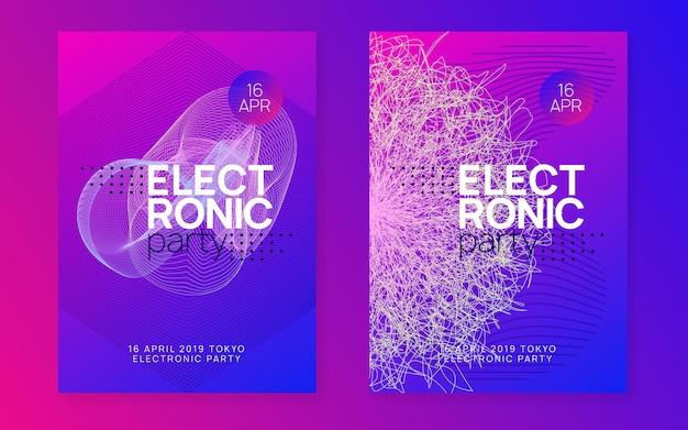 Geluid flyer. futuristische concerttijdschriftenset. dynamische vloeiende vorm en lijn. neon geluid flyer. electro-dansmuziek. elektronisch festival evenement. club dj-poster. techno trance feest.