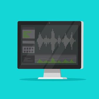 Geluid of audio recorder of editor software op computer pc scherm platte cartoon