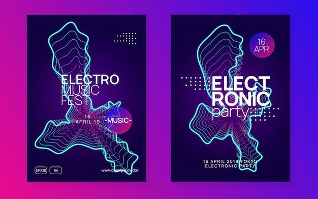 Geluids flyer. futuristische discotheek tijdschriftenset.