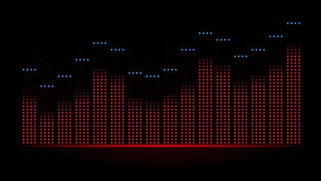 Geluidsgolf audiovisueel van equalizer. illustratie over dynamiek van muziek van elektronische apparatuur.