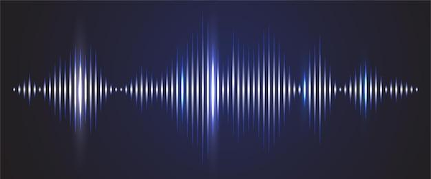 Geluidsgolf digitale achtergrond. audiotrack schijnt grafiek van frequentie en spectrum