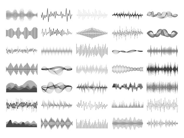 Geluidsgolf en muziek digitaal equalizerpaneel.