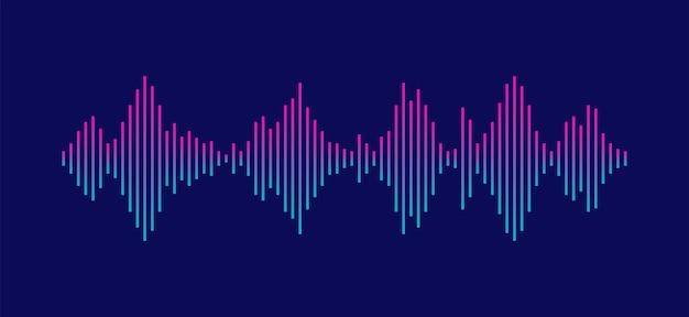 Geluidsgolf equalizer geïsoleerd op donkere achtergrond stem en muziek audio concept