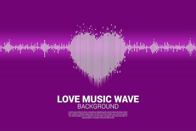 Geluidsgolf hart pictogram muziek equalizer achtergrond