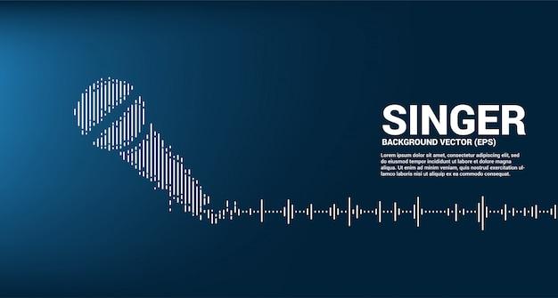 Geluidsgolf microfoon pictogram equalizer achtergrond. karaoke en concert grafische visuele stijl concept