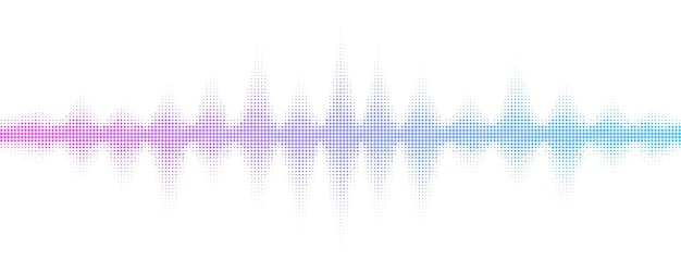 Geluidsgolven met halftone effect.music equalizer voor clubfeest, pub, concert. muzikale puls