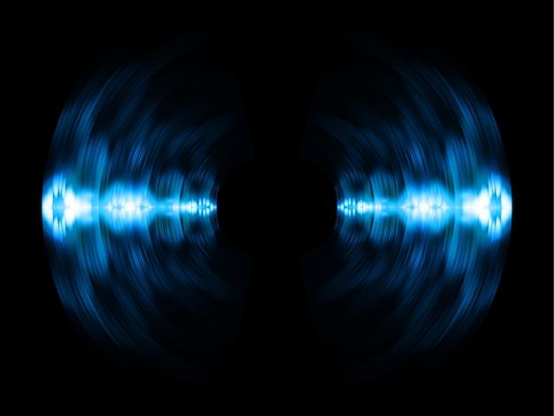 Geluidsgolven oscilleren donkerblauw licht