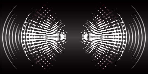 Geluidsgolven oscillerend donker licht muziek radio-equalizer stem vector audiotechnologie
