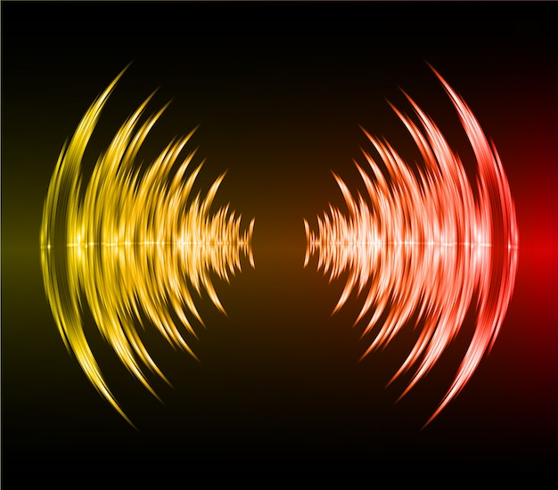 Geluidsgolven oscillerend donker rood geel licht