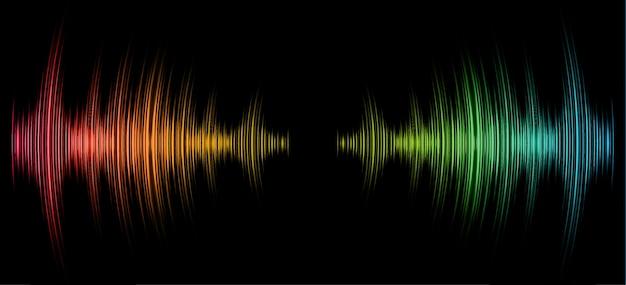 Geluidsgolven oscillerend donker roze groen geel blauw licht