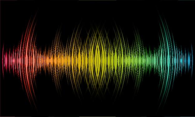 Geluidsgolven oscillerend donkerblauw geel rood licht