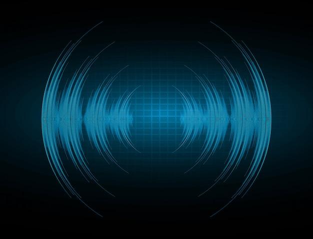 Geluidsgolven oscillerend donkerblauw licht