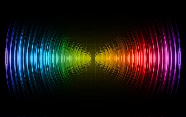 Geluidsgolven oscillerend donkerblauw rood groen licht