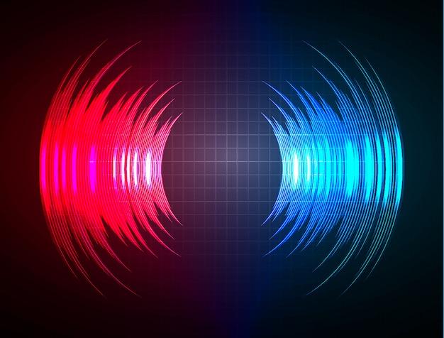 Geluidsgolven oscillerend donkerblauw rood licht