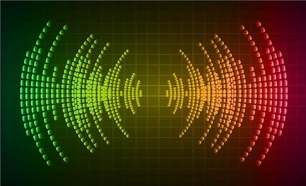 Geluidsgolven oscillerend donkergroen geel rood licht