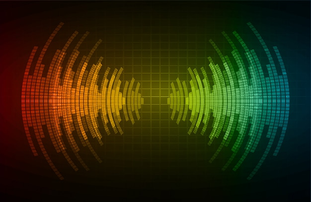 Geluidsgolven oscillerend donkerrood groenblauw licht